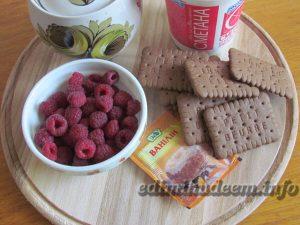 десерт малина печенье