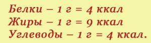 формула расчета калорий